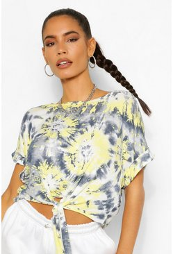 Lemon yellow Tie Dye Tie Front Top