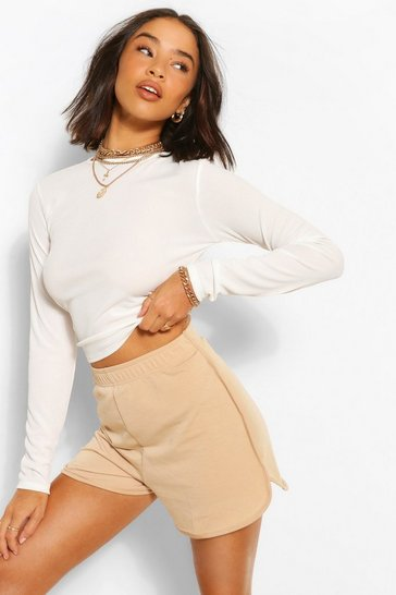 Stone beige Soft Loopback Shorts