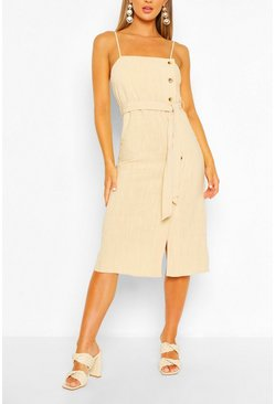 Beige Linen Button Side Dress