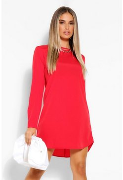 Red Long Sleeve Shift Dress