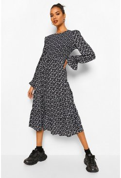 Black Floral Print Long Sleeve Tiered Midaxi Smock Dress