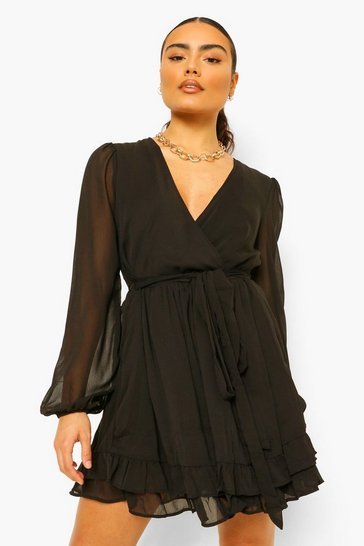 Black Chiffon Wrap Belted Ruffle Skater Dress