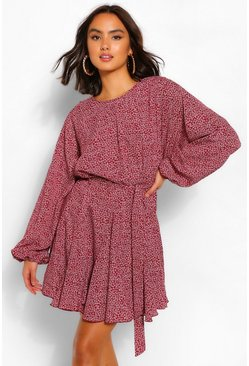Berry Ditsy Floral Belted Long Sleeve Skater Dress