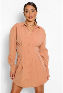 Dusty rose pink Button Down Pleat Detail Shirt Dress