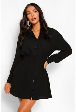 Black Belted Button Down Long Sleeve Shirt Dress
