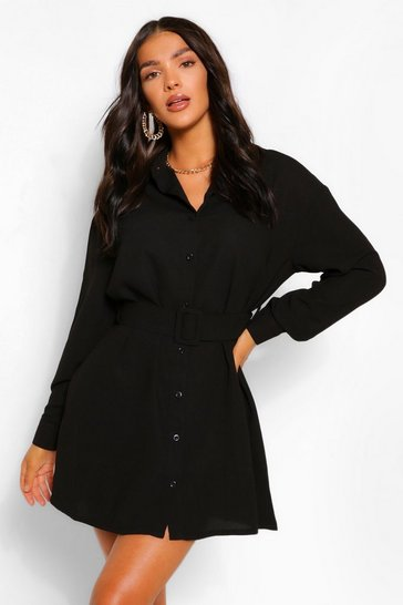 Black Belted Button Down Long Sleeve Shirt Dress