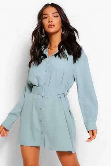 Sage green Belted Button Down Long Sleeve Shirt Dress