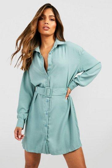 Sage green Belted Button Down Long Sleeve Shirt Dress