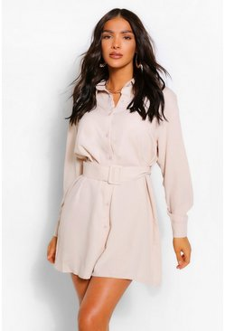 Stone beige Belted Button Down Long Sleeve Shirt Dress