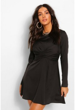 Black Twist Front Mini Dress