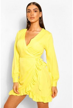 Chartreuse yellow Frill Woven Tea Dress