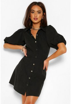Black Puff Sleeve Button Down Shirt Dress