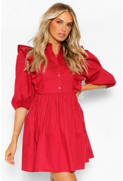 Berry red Ruffle Detail Puff Sleeve Shift Skater Dress