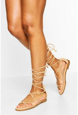 Beige Wrap Up Strappy Sandals