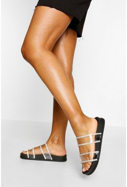 Black Clear Embellished Double Strap Sliders