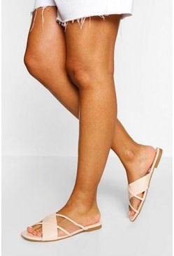 Nude Clear Cross Strap Slides