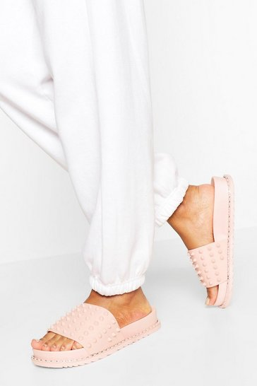 Pink Studded Pool Sliders