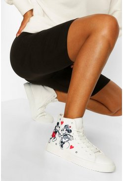 White Disney Lace Up Canvas High Top Trainers