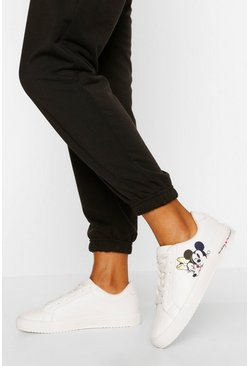 White Disney Lace Up Flat Trainers