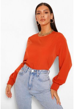 Rust orange Top Met Geplooide Mouwen En Crewneck
