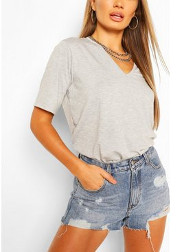 Grey Basic V Neck T-Shirt