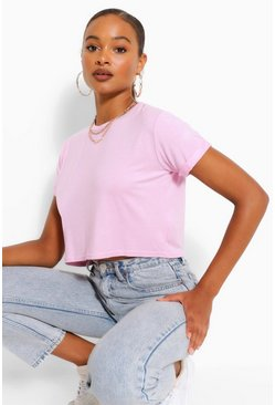 Baby pink Basic Roll Sleeve Crop T-Shirt