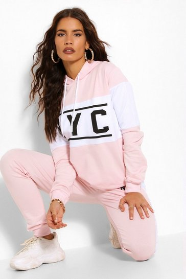 Dusky pink NYC COLOUR BLOCK TRACKSUIT