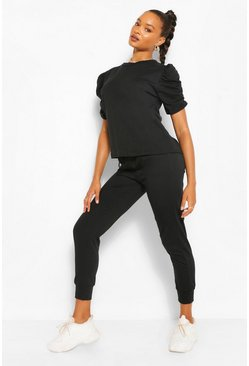 Black Puff Sleeve Jogger Set