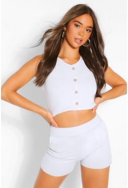 Grey Button Detail Sleeveless Top And Short Co-ord