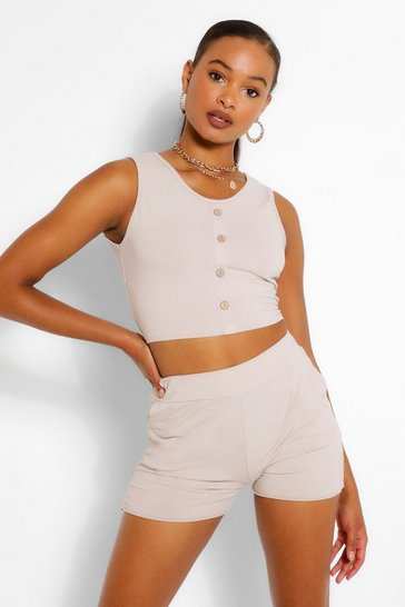 Stone beige Button Detail Sleeveless Top And Short Co-ord
