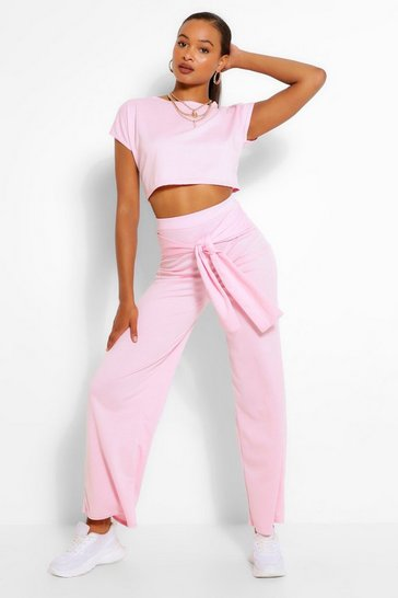 Pink Cropped Top and Tie Waist Trouser Co-ord Set