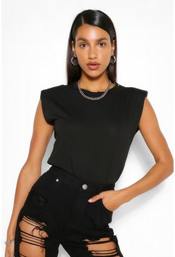 Black Shoulder Pad T-Shirt