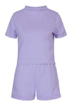 Lilac High Neck Short Sleeved Top & Short Co-ord Set