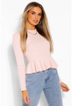 Blush pink Long Sleeve Peplum Blouse