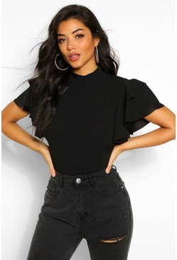 Black Ruffle Sleeve High Neck Bodysuit