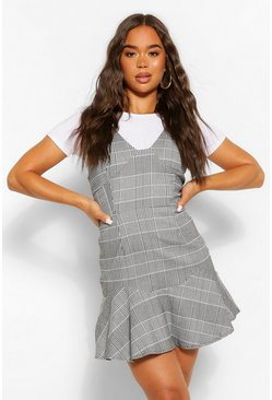 Grey Check Drop Hem Flippy Dress