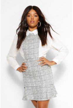 White Boucle Drop Hem Shirt Dress
