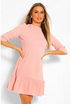 Dusky pink pink 3/4 Drop Hem Shift Dress