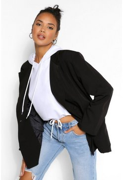 Black Oversized Pocket Detail Dad Blazer