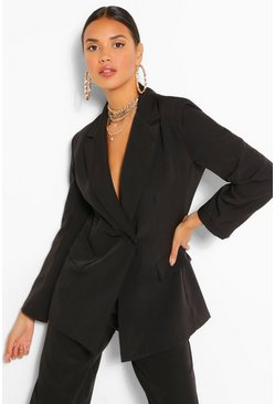 Black Button Wrap Pocket Detail Blazer