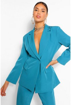Wrap Blazer & Tapered Trouser Suit Set