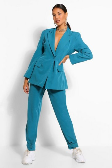 Teal Button Cuff Tapered Trouser