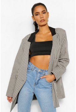 Brown Contrast Collar Check Oversized Blazer