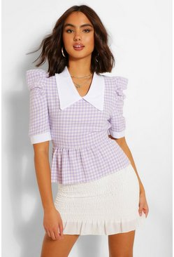 Lilac purple Dogtooth Boucle Collared Blouse