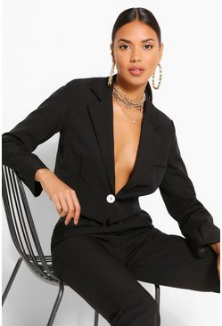 Black Woven Button Crop Blazer