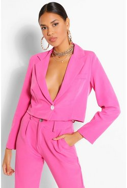 Hot pink Woven Button Crop Blazer