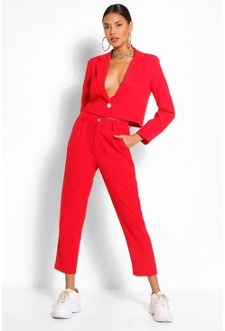 Red Woven Tailored Trouser