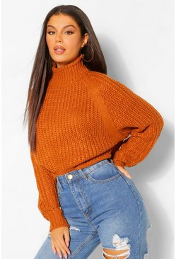 Turmeric yellow Chunky High Neck Crop Jumper