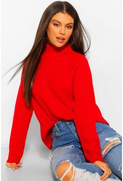 Red High Neck Oversized Jumper