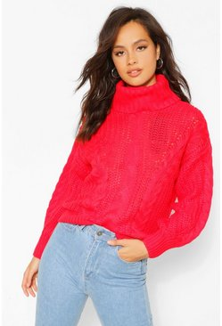 Red High Neck Chunky Knit Jumper